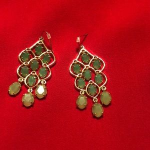 Beautiful gold/ green chandelier earrings